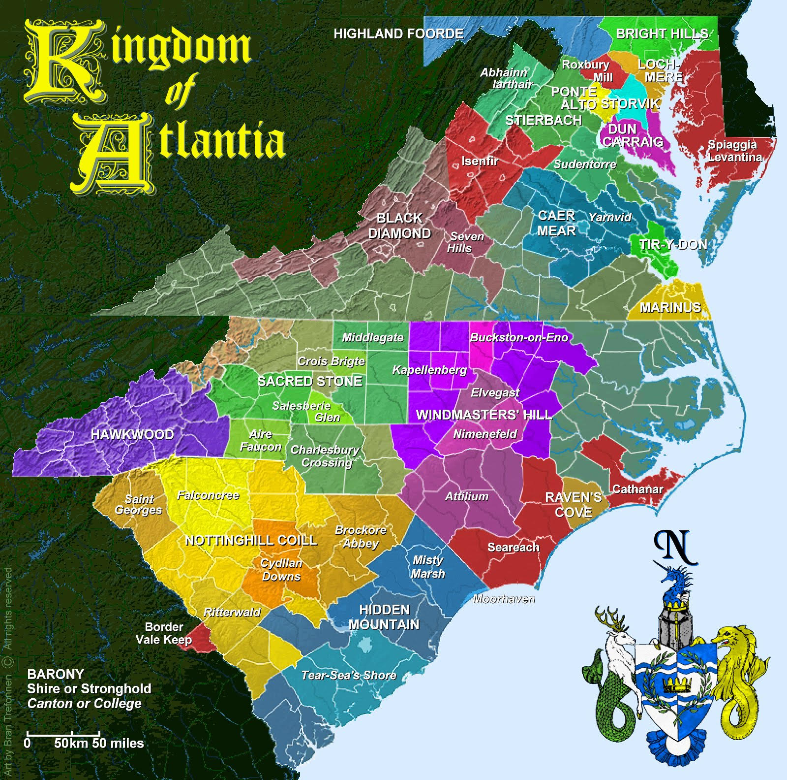 Map Of Atlantia Kingdom Of Atlantia Sca Inc